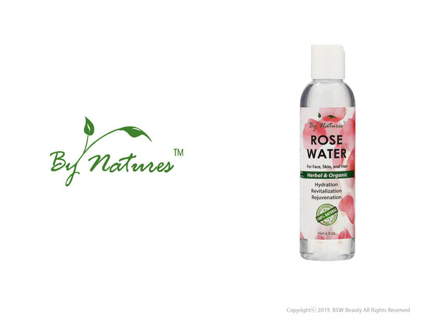 BY NATURES ROSE WATER FOR FACE,SKIN, AND HAIR 6oz