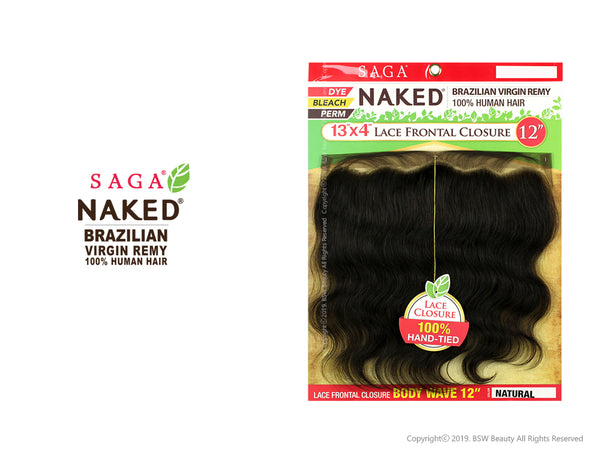 "SHAKE N GO SAGA NAKED BRAZILIAN VIRGIN REMY 100% HUMAN HAIR 13""X4"" LACE FRONTAL CLOSURE BODY WAVE 12"" & 16"" [W]"