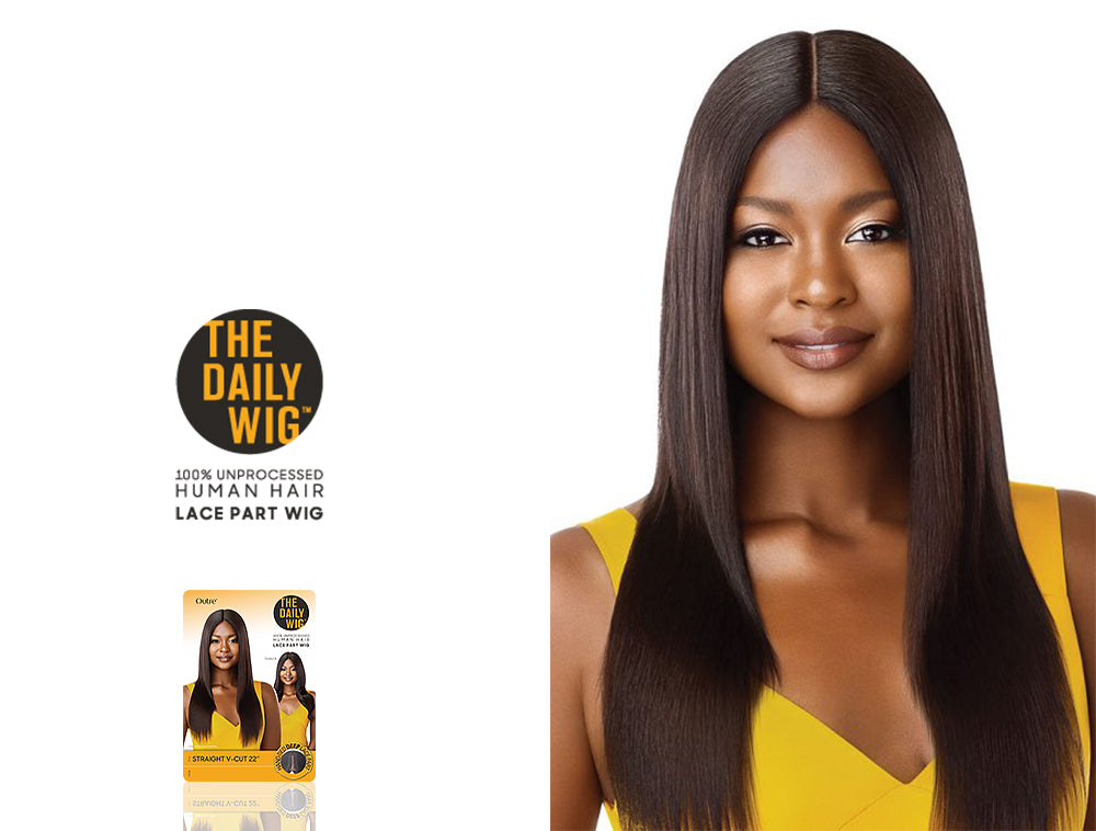 OUTRE THE DAILY WIG 100% UNPROCESSED HUMAN HAIR LACE PART WIG STRAIGHT V-CUT 22""