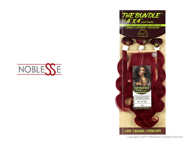 "NOBLESSE THE BUNDLE WITH 4""X4"" LACE FRONT 100% BRAZILIAN VIRGIN REMY HUMAN HAIR NATURAL BODY WAVE  3PCS + LACE FRONTAL CLOSURE 12"" - COLOR BURG"