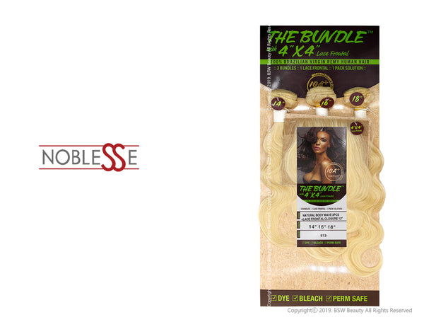 "NOBLESSE THE BUNDLE WITH 4""X4"" LACE FRONT 100% BRAZILIAN VIRGIN REMY HUMAN HAIR NATURAL BODY WAVE 3PCS + LACE FRONTAL CLOSURE 12"" - COLOR 613"