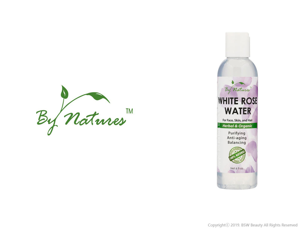 BY NATURES WHITE ROSE WATER FOR FACE, SKIN, AND HAIR 6oz