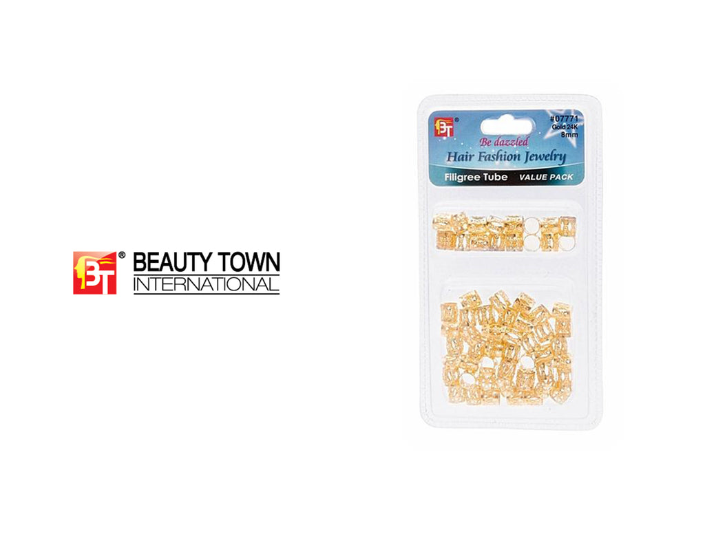 BEAUTY TOWN FILIGREE TUBE GOLD 8MM #07771 (VALUE PACK)
