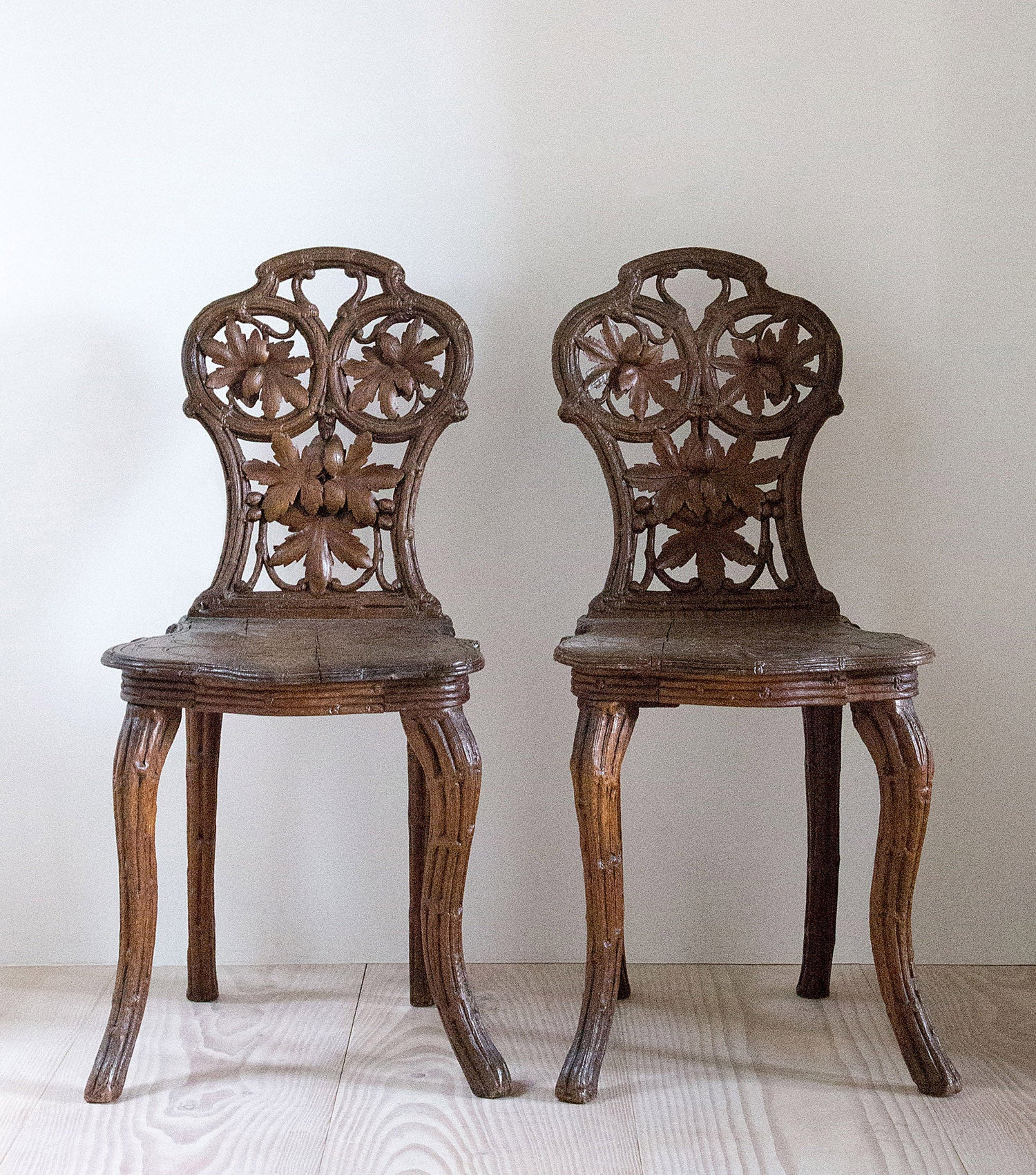 Swiss 19th Century 'Black Forest' Chairs - One Pair Remaining