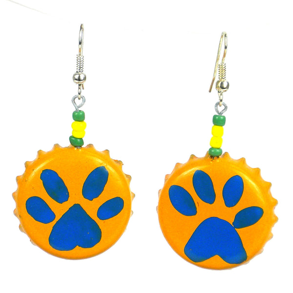 Orange Tiger Paw Earrings on Bottlecaps - Creative Alternatives