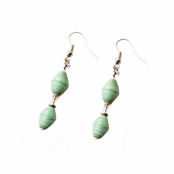 Simple Magazine Bead Earrings Seafoam - Imani Workshop (J)