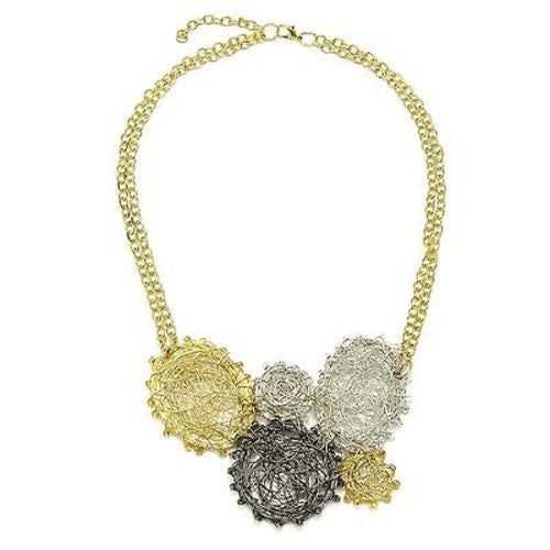 Ombre Metal Wire-Wrap Statement Necklace - WorldFinds