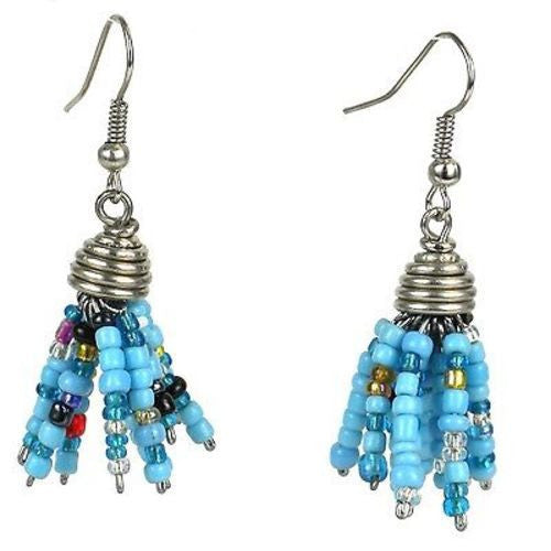 Blue Maasai Beaded Spike Earrings - Zakali Creations