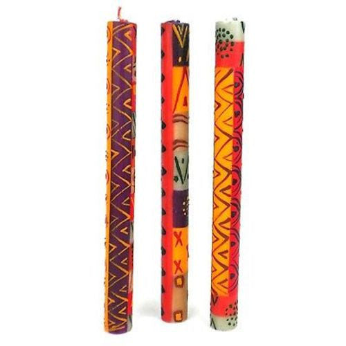Set of Three Boxed Tall Hand-Painted Candles - Indaeuko Design - Nobunto
