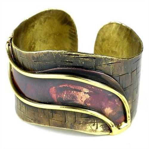 Red Wave Copper and Brass Cuff - Brass Images (C)