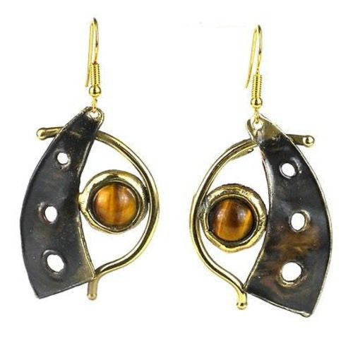 Golden Tiger Eye Domino Earrings - Brass Images (E)