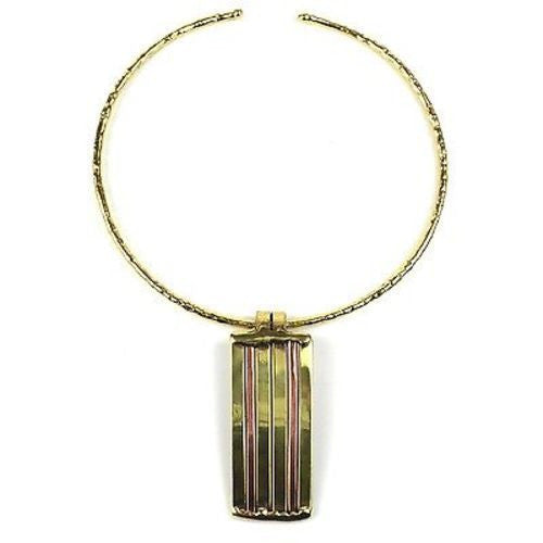 Copper and Brass Architecture Necklace - Brass Images (N)