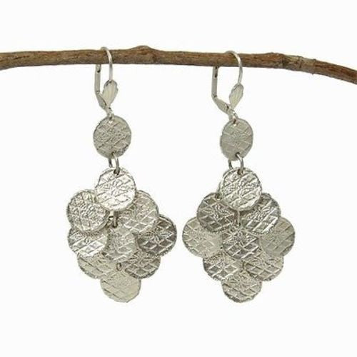 Stamped Disk Chandelier Earrings in Silvertone - WorldFinds