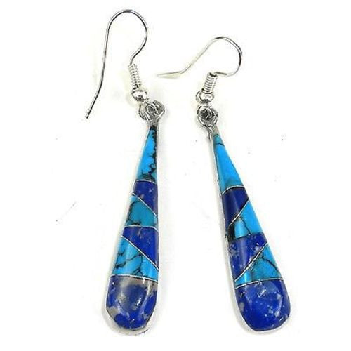 Turquoise and Lapis Tear Drop Earrings - Artisana
