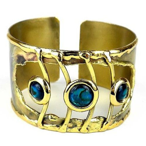 Ripple Effect Paua Shell Brass Cuff - Brass Images (C)