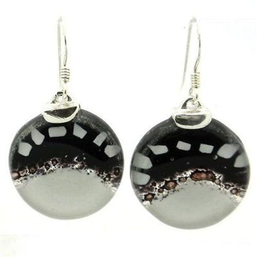 White to Black Fused Glass Earrings with Sterling Silver - Tili Glass