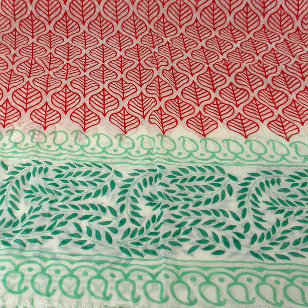 Red and Green Leaf Design Cotton Scarf - Asha Handicrafts