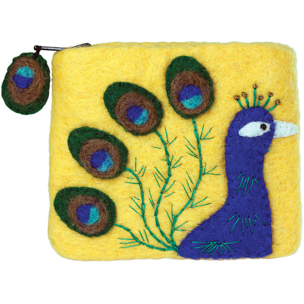 Felt Coin Purse - Peacock - Wild Woolies (P)