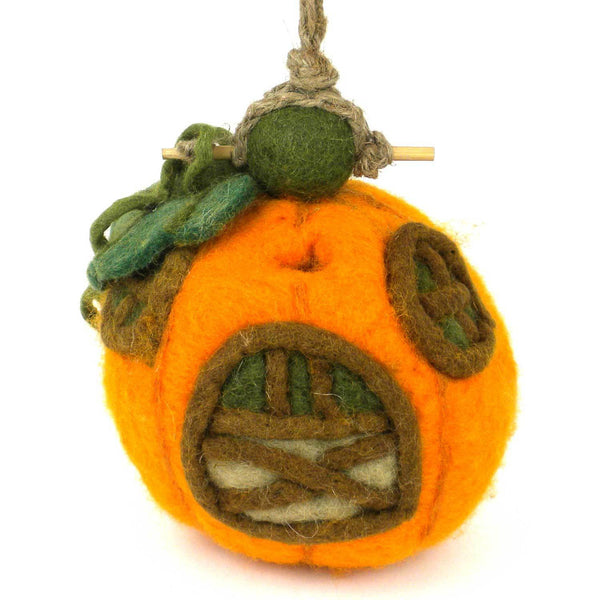 Felt Pumpkin Cottage Bird House - Wild Woolies