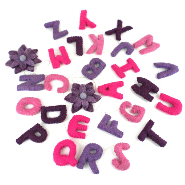 Felt Alphabet Wall Hanging - Pinks - Global Groove