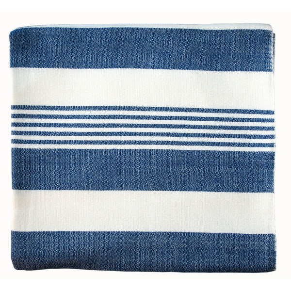 Navy Stripes Cotton Beach Throw - Sustainable Threads (L)