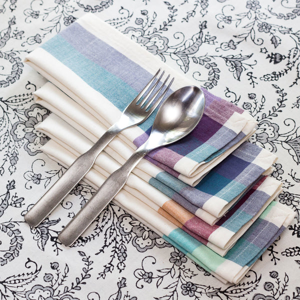 Cream Madras 16 inch Cotton Napkin Set of 4 - Sustainable Threads (L)