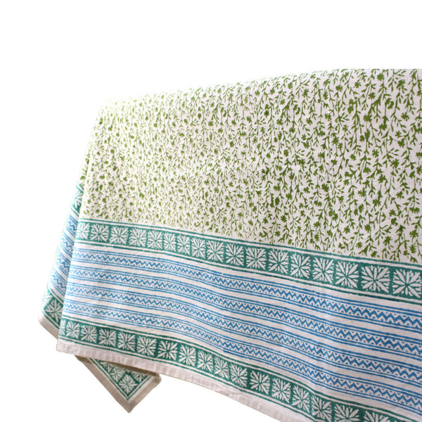 Green Field Cotton Tablecloth 90 by 60 - Sustainable Threads (L)