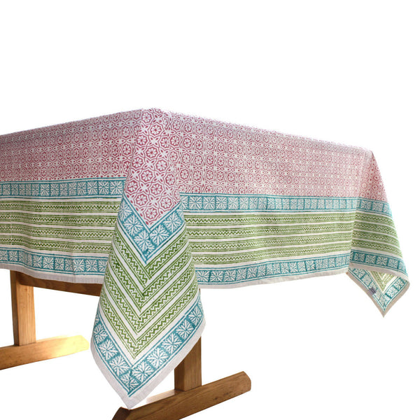 Red Floral Cotton Tablecloth 90 by 60 - Sustainable Threads (L)