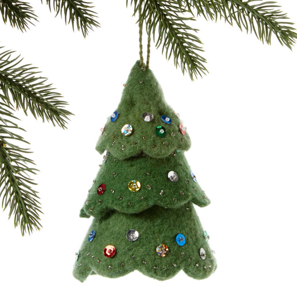 Green Tree Felt Ornament Multicolor - Silk Road Bazaar (O)