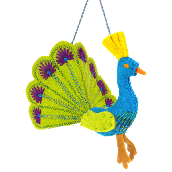 Lime Green Peacock Felt Holiday Ornament - Silk Road Bazaar (O)