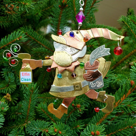 2020 Pandemic Sanitizing Elf Ornament Front