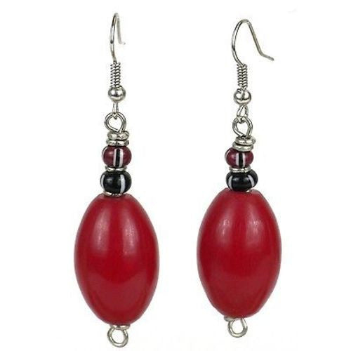 Handcrafted Red Resin Bead Earrings - Kenya