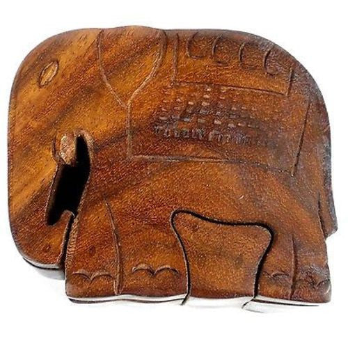 Handcrafted Sheesham Wood Elephant Puzzle Box - Noahs Ark
