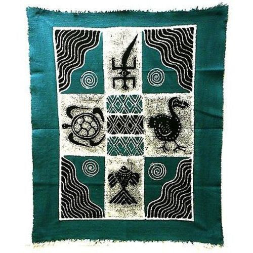 Four Creatures Batik in Blue/Black - Tonga Textiles