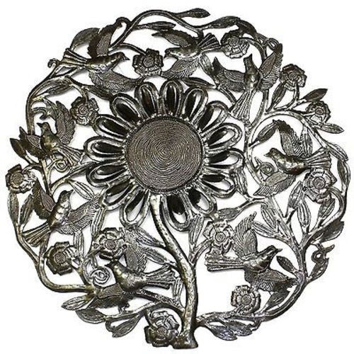Sunflower and Birds Metal Wall Art 24-inch Diameter - Croix des Bouquets