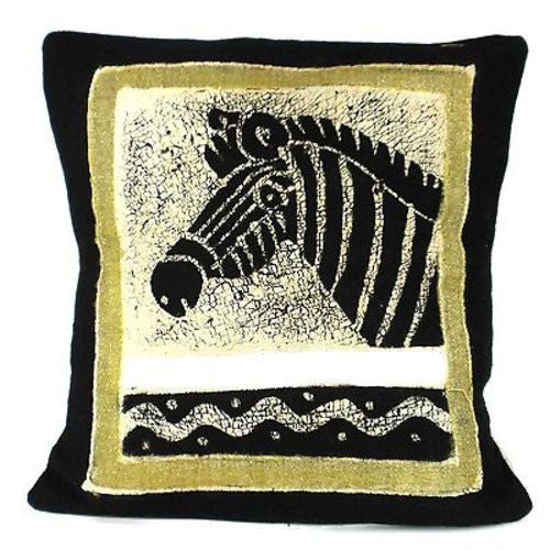 Handmade Black and White Zebra Batik Cushion Cover - Tonga Textiles