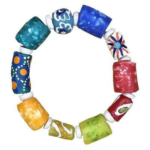 Recycled Glass Marble Bracelet in Rainbow - Global Mamas