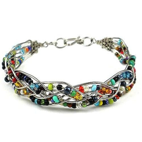 Woven Silverplated Wire and Colorful Bead Bracelet - Zakali Creations