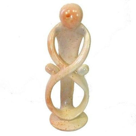 Natural 10-inch Tall Soapstone Family Sculpture - 1 Parent 2 Children - Smolart