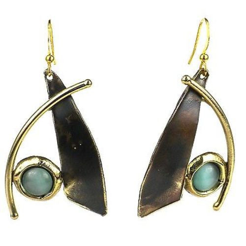 Blade and Aqua Tiger Eye Brass Earrings - Brass Images (E)