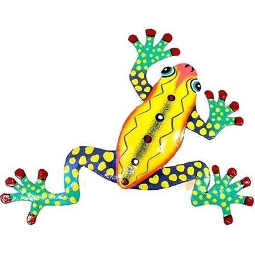 Ten Inch Metal Yellow Frog - Caribbean Craft