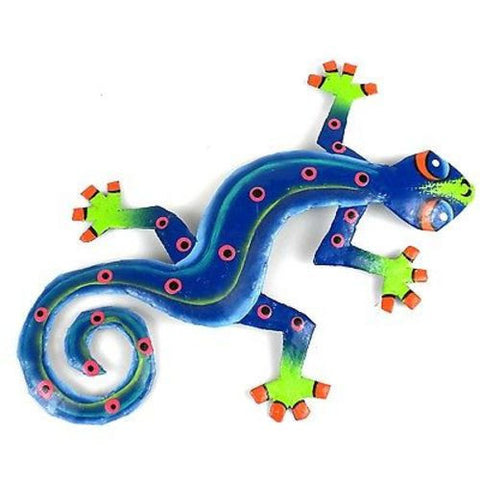 Eight Inch Blue Green Metal Gecko - Caribbean Craft