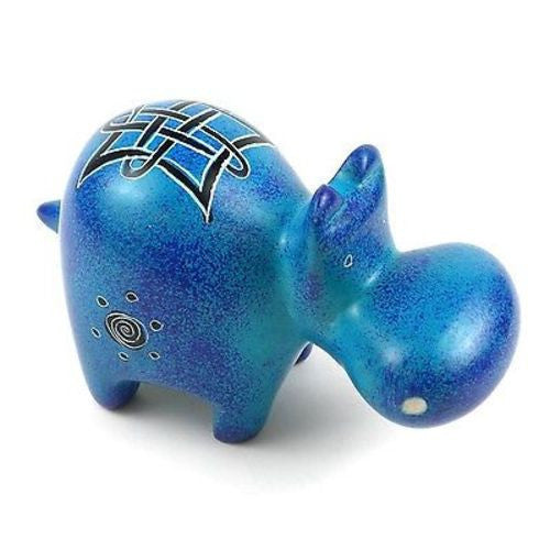 Handcrafted Blue Soapstone Hippo - Smolart