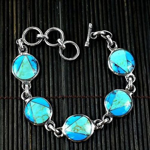 Handcrafted Mexican Alpaca Silver and Turquoise Disk Bracelet - Artisana
