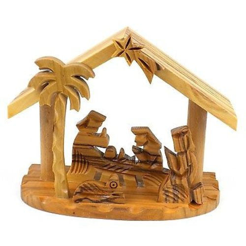 Olive Wood Small Beams Nativity - Bethlehem