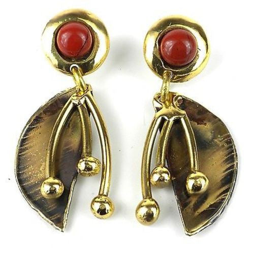 Red Jasper Pod Brass Post Earrings - Brass Images (N)
