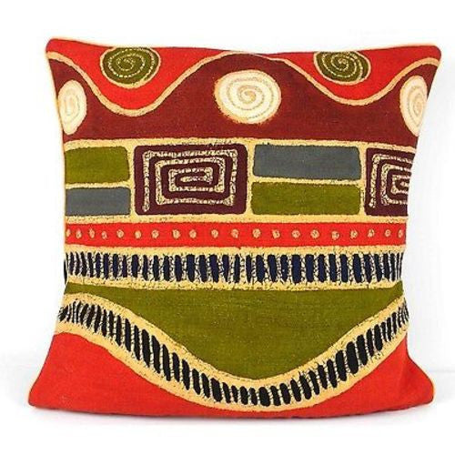 Handmade Geometric Wave Batik Cushion Cover - Tonga Textiles