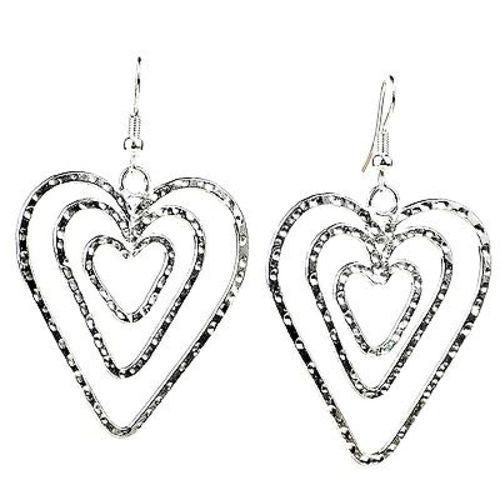 Triple Heart Silver Overlay Earrings - Artisana