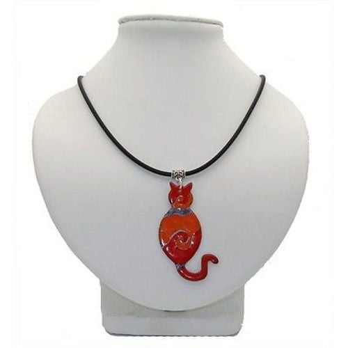 Red Enamel on Copper Cat Pendant Necklace - Chilean