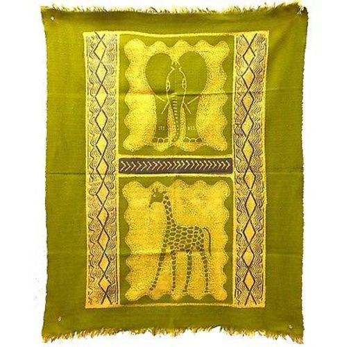 Elephant and Giraffe Batik in Lime/Periwinkle - Tonga Textiles